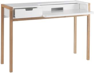 STUDY Quint White desk with pull out laptop shelf and drawers