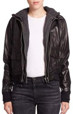 R 13 Layered Jersey-Hood Leather Bomber Jacket