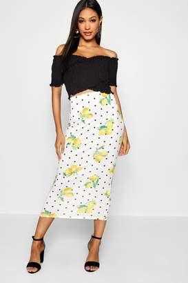 boohoo Lemon Print Midaxi Skirt