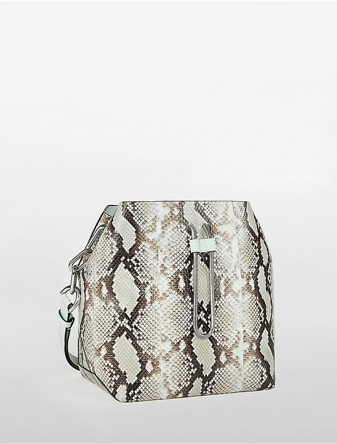 Calvin Klein Platinum Enveloped Snake Bucket Bag