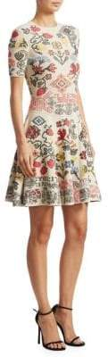 Alexander McQueen Vlm Paneled Fit-&-Flare Dress