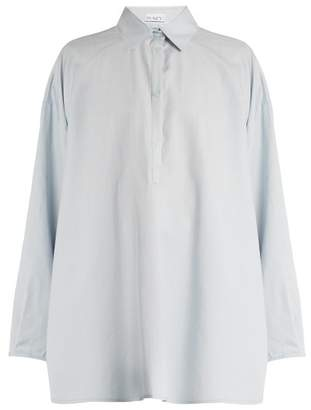 Raey Split Side Cotton And Silk Blend Shirt - Womens - Light Blue