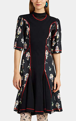 Koché Women's Mixed-Media Floral Midi-Dress - Black