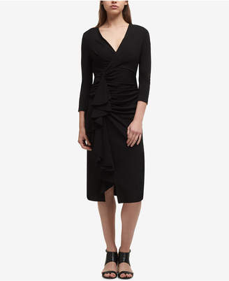 DKNY 3/4-Sleeve Ruched Jersey Dress, Created for Macy's