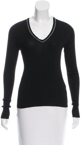 Saint Laurent Yves Saint Laurent Embellished Wool Top