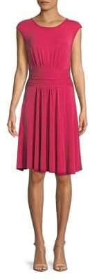 Context Gathered Waist Cap-Sleeve Dress