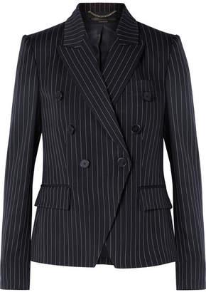 Stella McCartney Double-breasted Pinstriped Wool-blend Blazer - Midnight blue