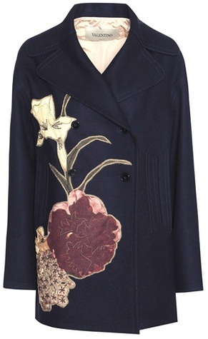 Valentino Valentino Embellished virgin wool coat