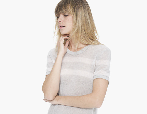 James Perse Lightweight Cashmere Striped Tee
