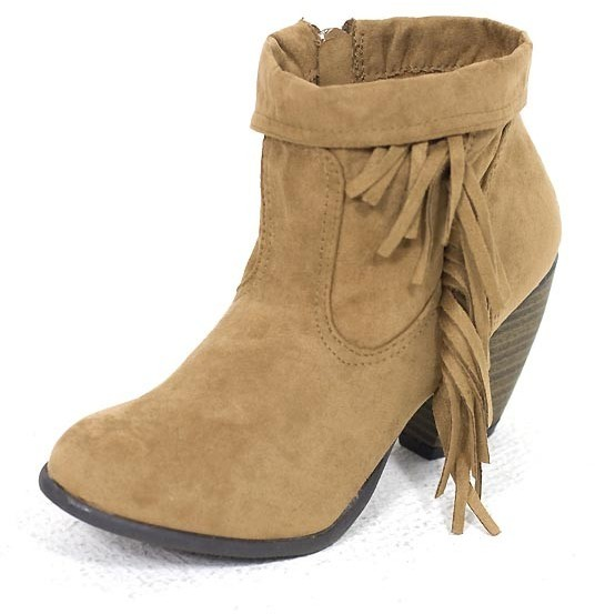 E.m. West Coast Wardrobe West Coast Wardrobe Give the Boot Fringe Bootie in Camel