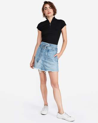 Express D-Ring Belted Denim Mini Skirt