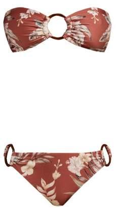 Zimmermann Wayfarer Floral Print Bandeau Bikini - Womens - Red Print
