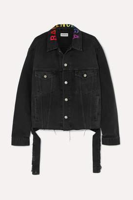 Balenciaga Embroidered Oversized Denim Jacket - Black