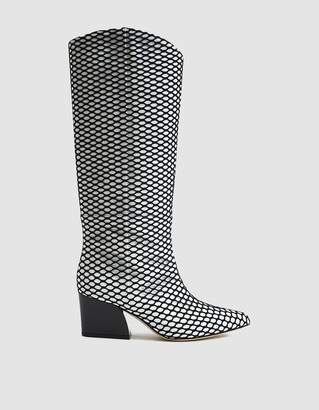 Tibi Logan Western Tall Boot in Mesh