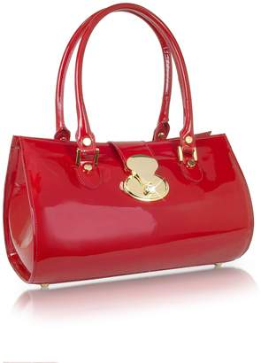 L.a.p.a. Crystal Buckle Patent Leather Barrel Bag