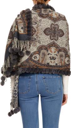 Gorski Double-Face Wool Stole w/ Rabbit Fur Loop & Pompoms, Gray Pattern