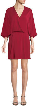 Halston Kimono Faux-Wrap Fit-and-Flare Dress