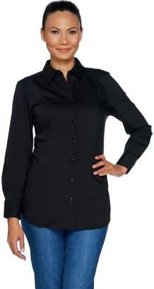 Denim & Co. Solid Button Front Shirt