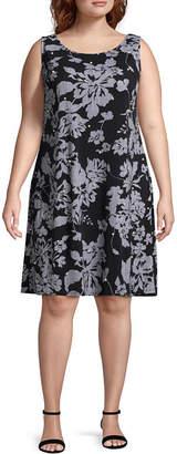 MSK Sleeveless Beaded Floral Shift Dress - Plus