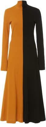 Rosetta Getty Two-Tone Cotton Turtleneck Midi Dress Size: S