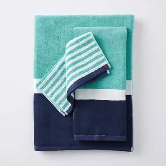 Pottery Barn Teen Color Block Bath Towels, Pool/ Royal Navy, Hand