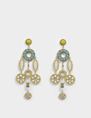 Marc Jacobs Jeweled Statement Earrings in Blue Brass
