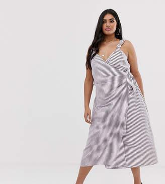 Fashion Union Plus wrap midi cami dress in stripe