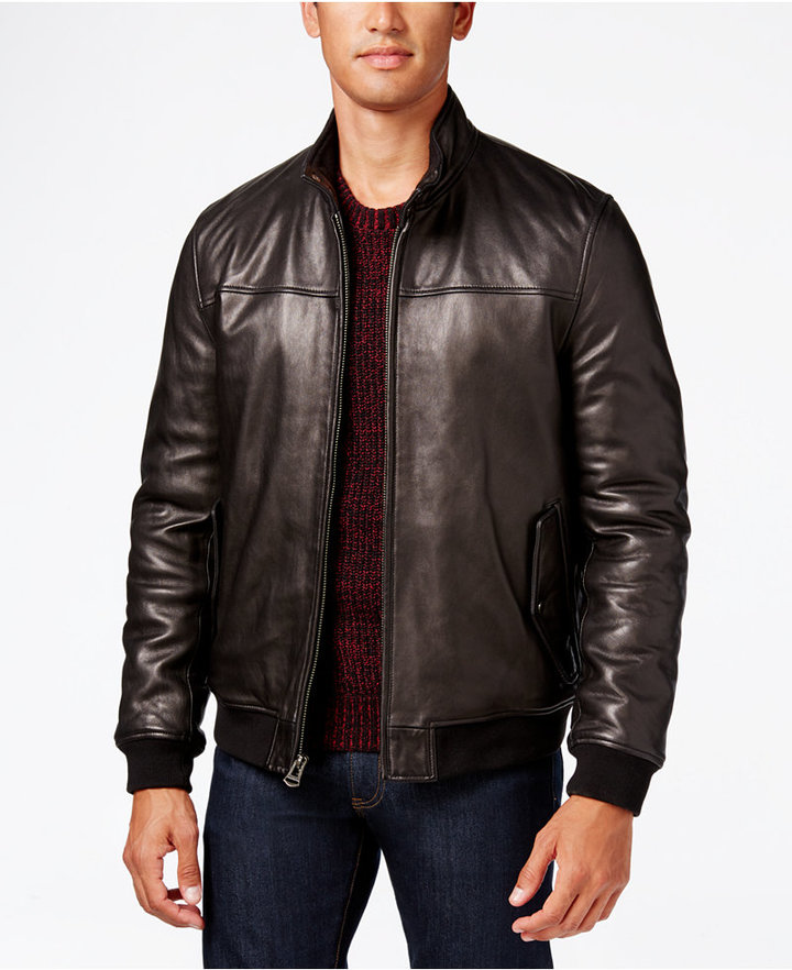 Mens Leather Bomber Jacket - ShopStyle Australia