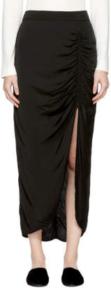 Raquel Allegra Black Gathered Slit Skirt