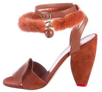 2016 Ruffle Mink Fur-Trimmed Sandals