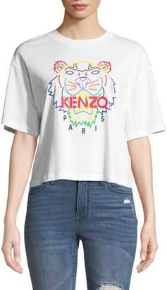 Kenzo Tiger Logo Cropped Graphic Tee