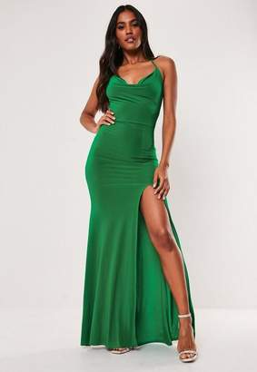Missguided Green Slinky Cowl Neck Split Detail Maxi Dress