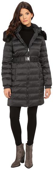 DKNYDKNY Belted Coat w/ Detachable Faux Fur Collar 75909-Y5