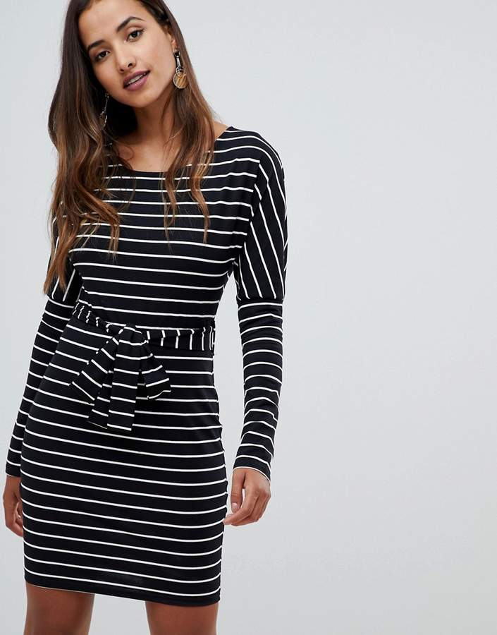 Girl In Mind long sleeve belted striped bodycon dress