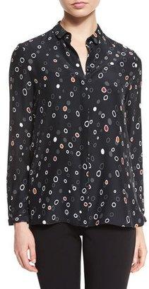 Armani Collezioni Long-Sleeve Pebble-Print Blouse, Black $795 thestylecure.com