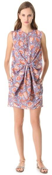 Carven Floral Tie Front Dress