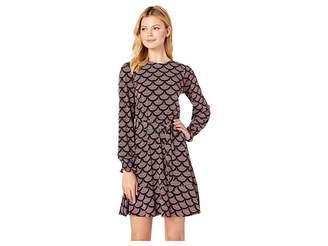 MICHAEL Michael Kors Chandeleir Smocked Long Sleeve Dress
