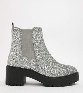 Asos DESIGN Revival chunky chelsea boots in glitter