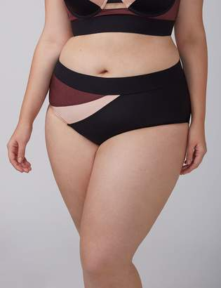 Lane Bryant Shimmer Colorblock Swim Brief