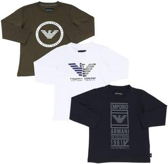 Emporio Armani Set Of 3 Logo Cotton Jersey T-shirts
