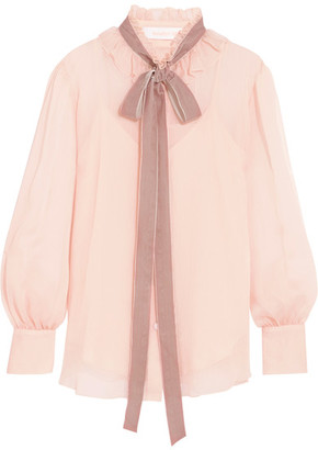 See by Chloé - Velvet-trimmed Pussy-bow Ruffled Crepon Blouse - Blush $395 thestylecure.com