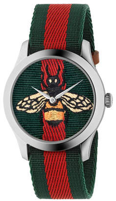 Gucci Bee-Embroidered Nylon Web Watch
