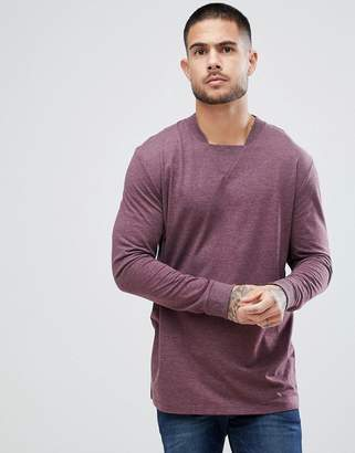Asos DESIGN oversized long sleeve t-shirt with neck detail and cuff in red