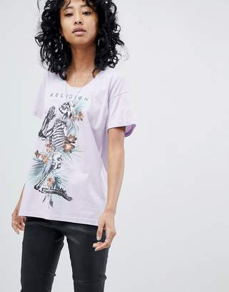 Religion Oversized T-Shirt With Tropical Skeleton