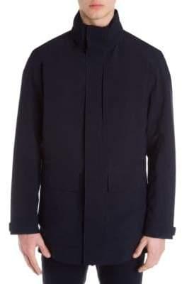 Ermenegildo Zegna Men's Layered Zip-Front Jacket - Navy - Size Medium