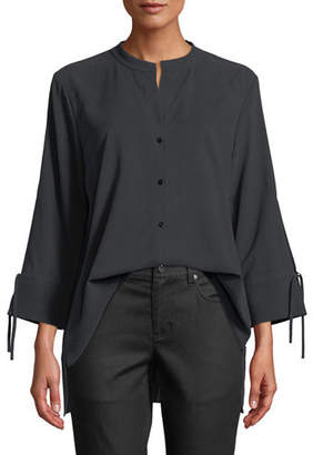 Eileen Fisher Fuji Silk 3/4-Sleeve Blouse