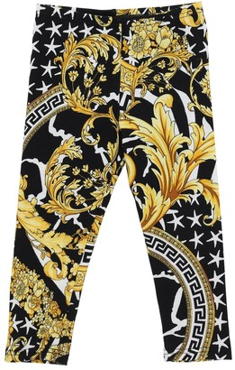Versace BAROQUE PRINT COTTON JERSEY LEGGINGS