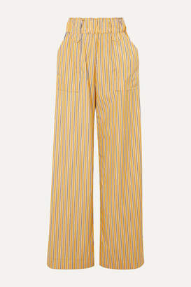 Matin MATIN - Striped Cotton-poplin Wide-leg Pants - Yellow