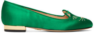 Charlotte Olympia SSENSE Exclusive Green Satin Kitty Loafers
