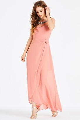 3df151e74e7 Little Mistress Carrie Orange Hand-Embellished Maxi Dress